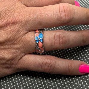 Boho Pink Butterfly Blue Flower Petal Shape